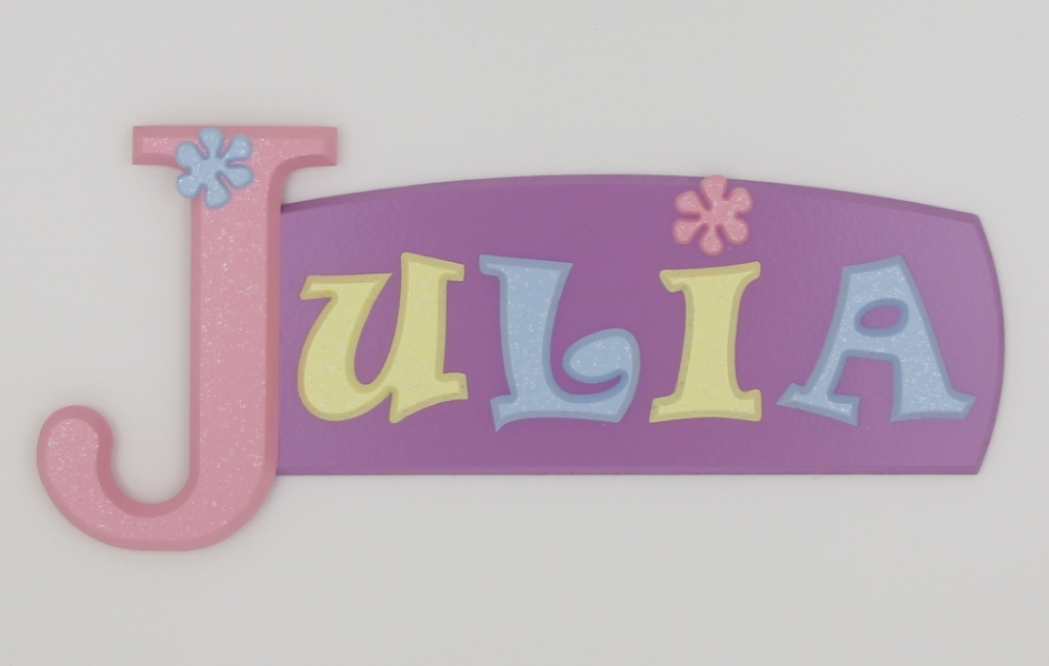 painted wooden name sign for Julia