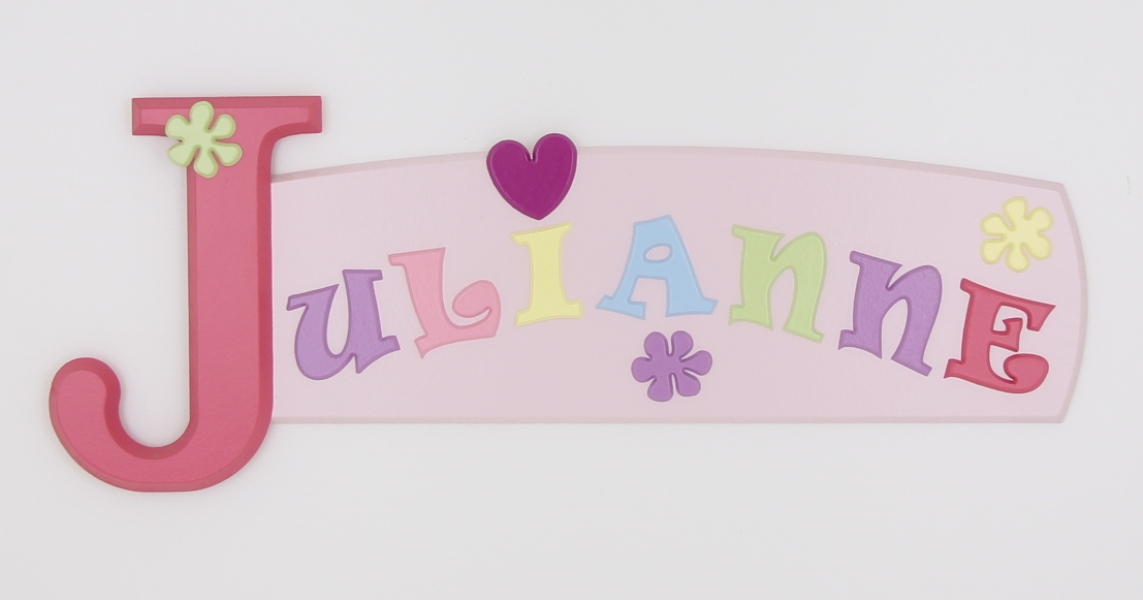 painted wooden name sign for Julianne