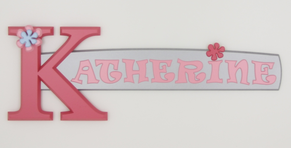 painted wooden name sign for Katherine