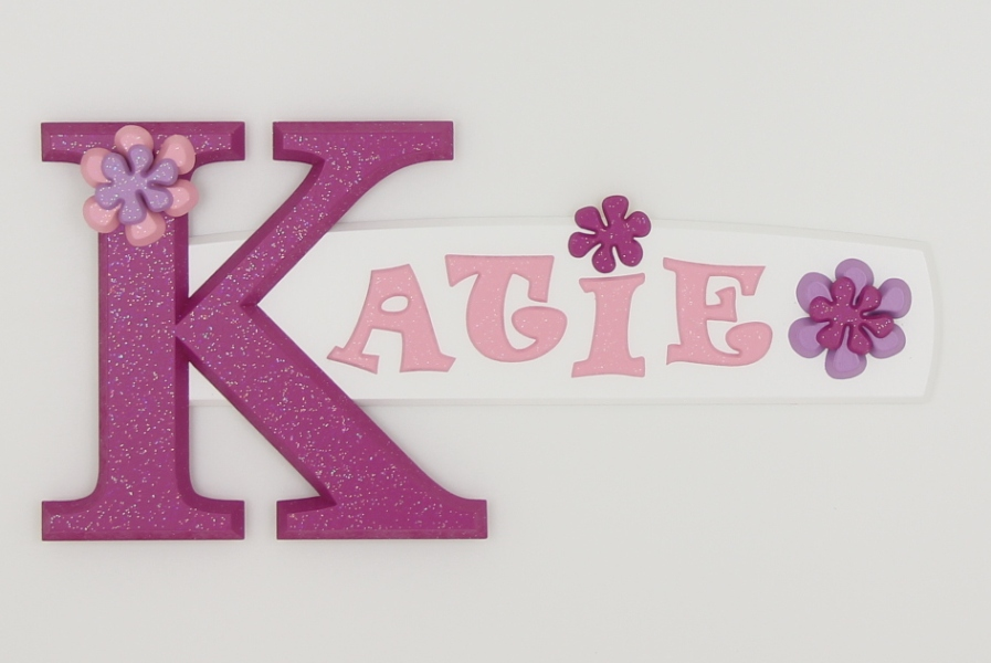 Katie painted wooden name sign for