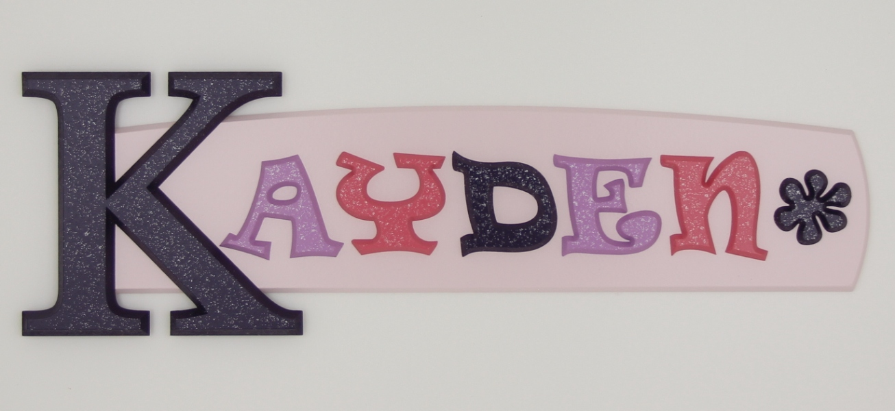 painted wooden name sign for Kayden