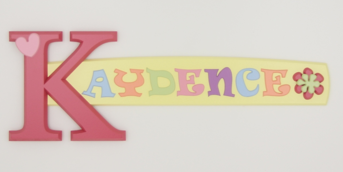 painted wooden name sign for Kaydence
