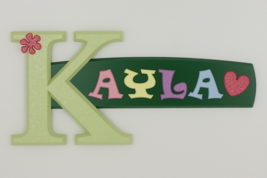 painted wooden name sign for Kayla