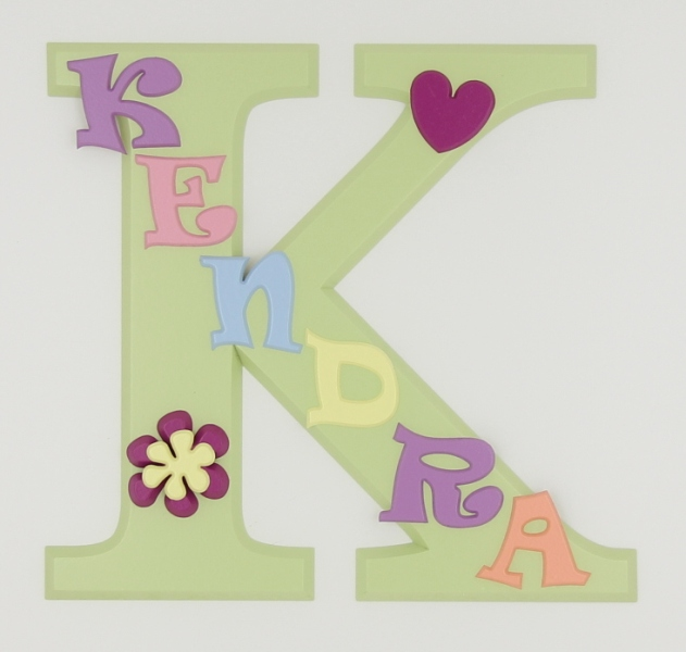 painted wooden name sign for Kendra