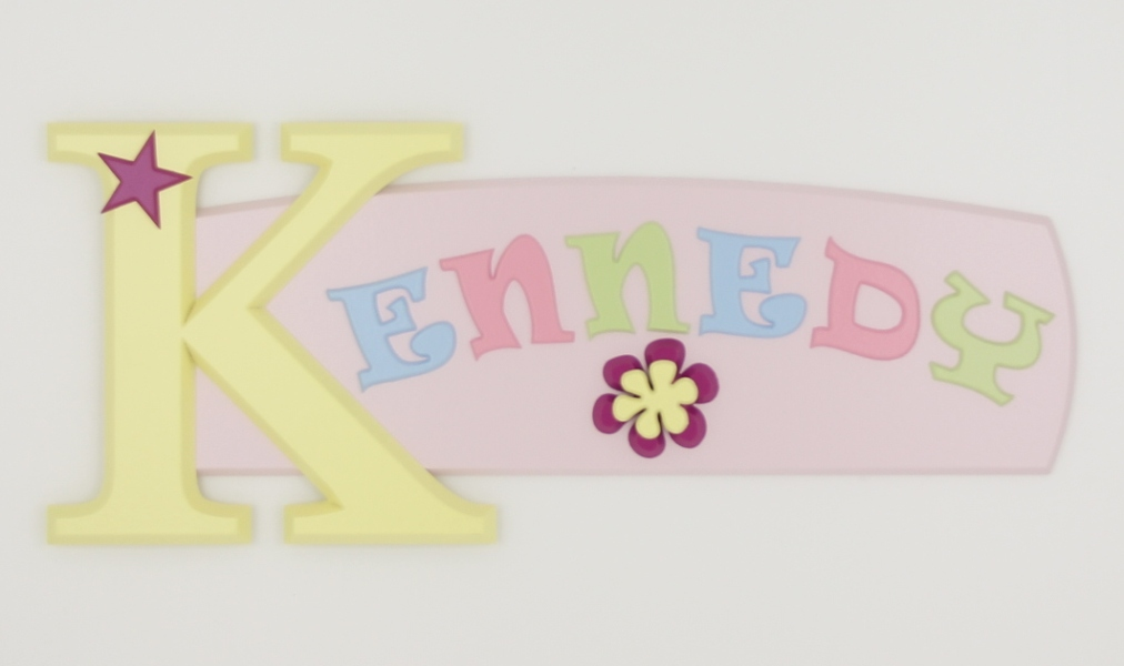 painted wooden name sign for Kennedy