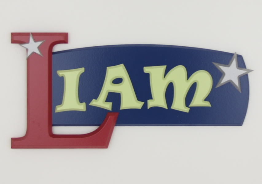 painted wooden name sign for Liam