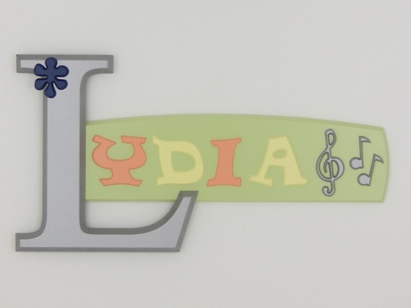 painted wooden name sign for Lydia