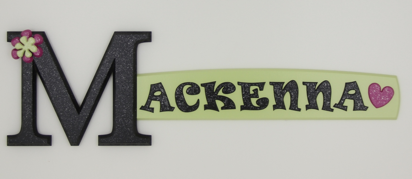 painted wooden name sign for Mackenna