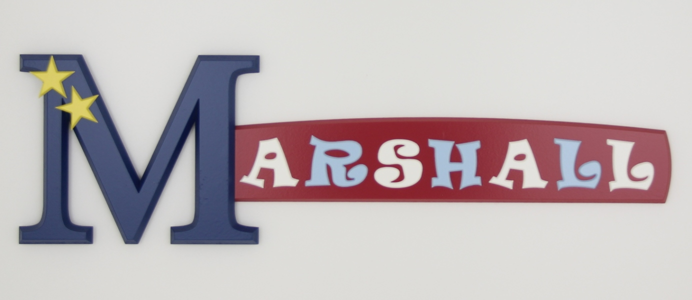 painted wooden name sign for Marshall