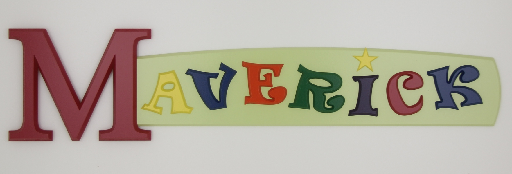 painted wooden name sign for Maverick