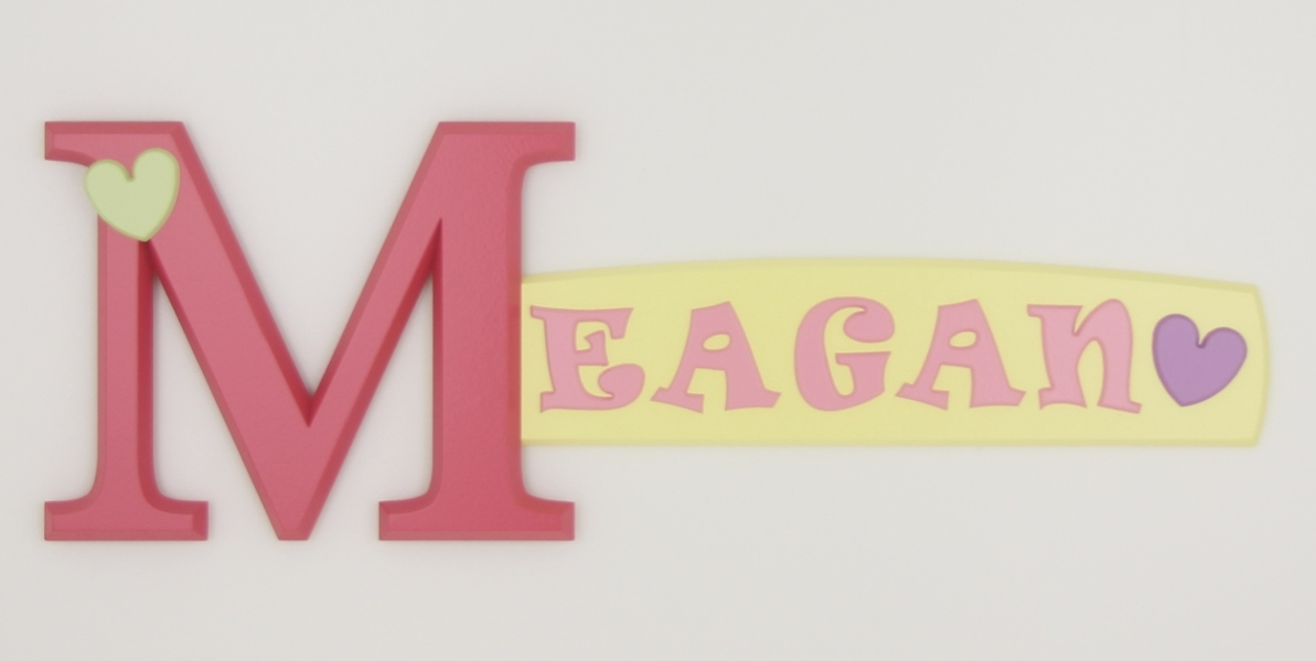 painted wooden name sign for Meagan
