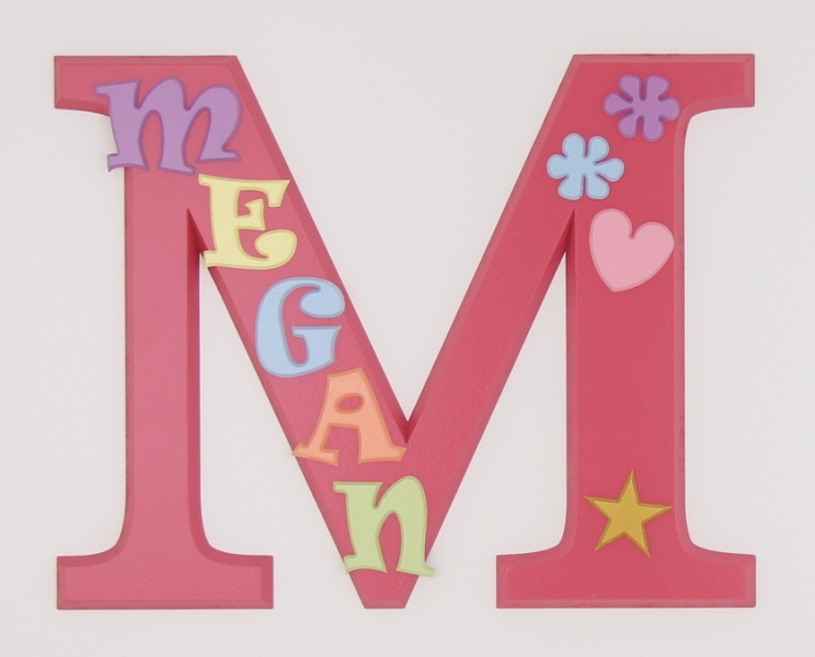 painted wooden name sign for Megan