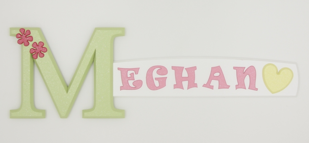 painted wooden name sign for Meghan