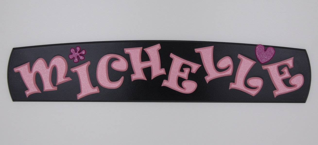 painted wooden name sign for Michelle