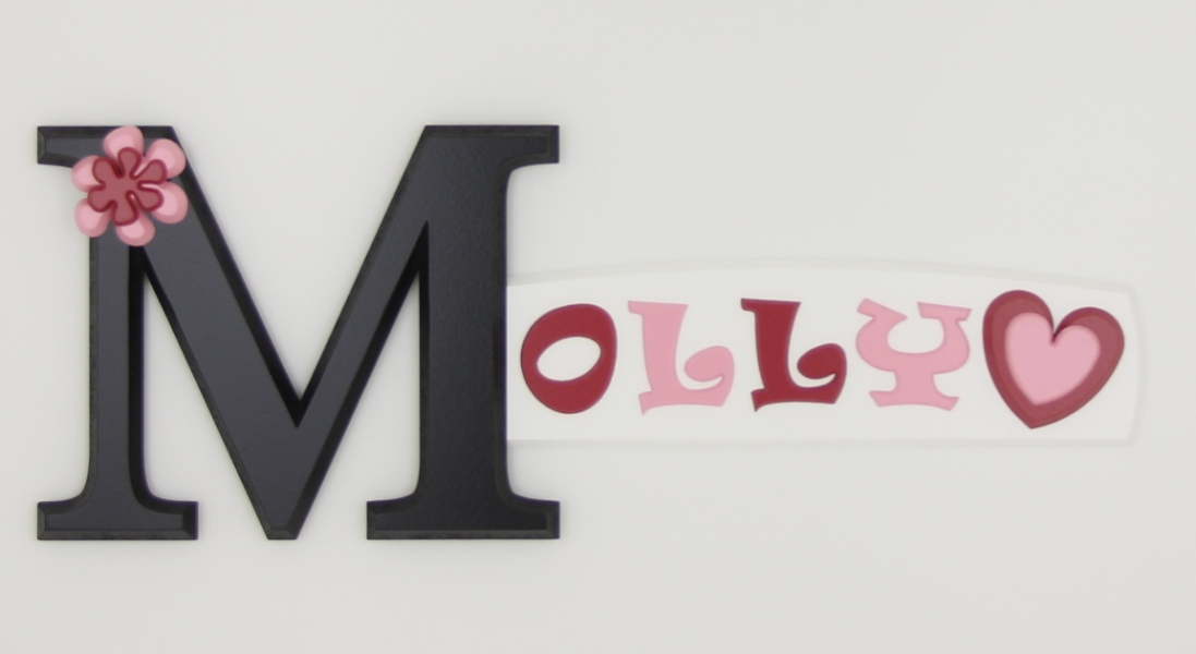painted wooden name sign for Molly