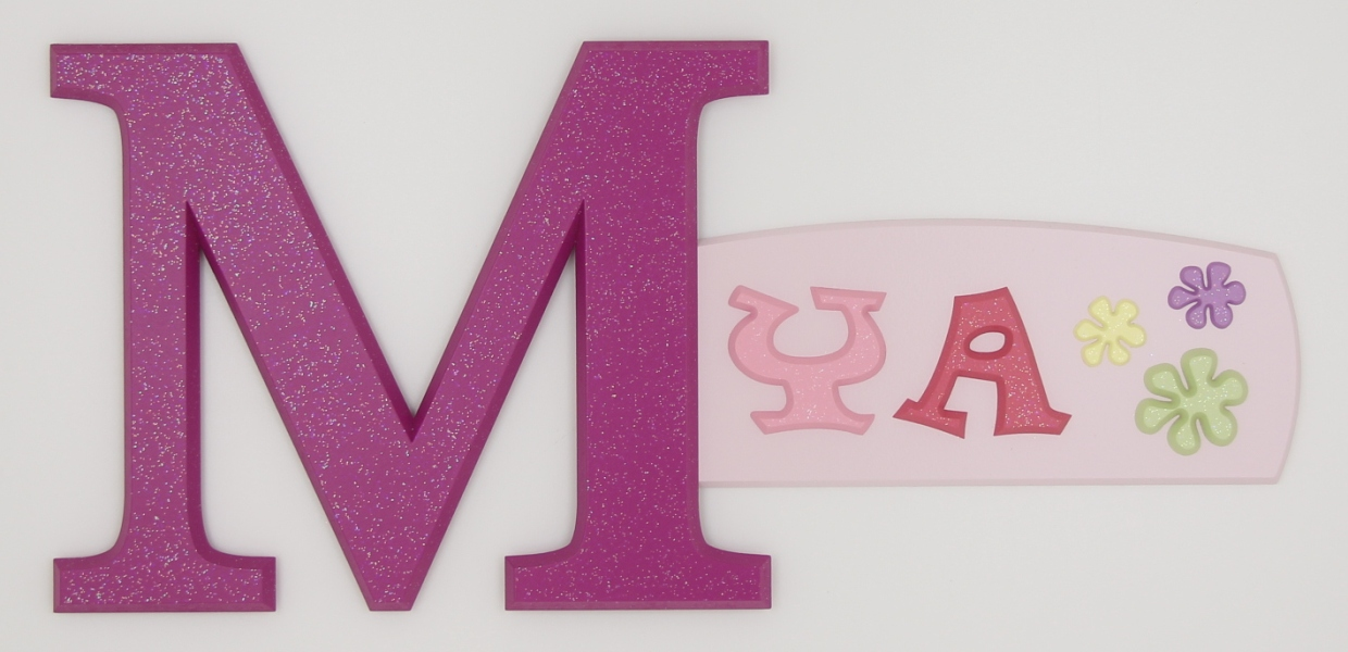 painted wooden name sign for Mya