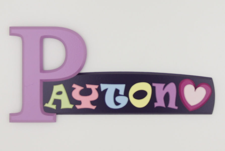 painted wooden name sign for Payton