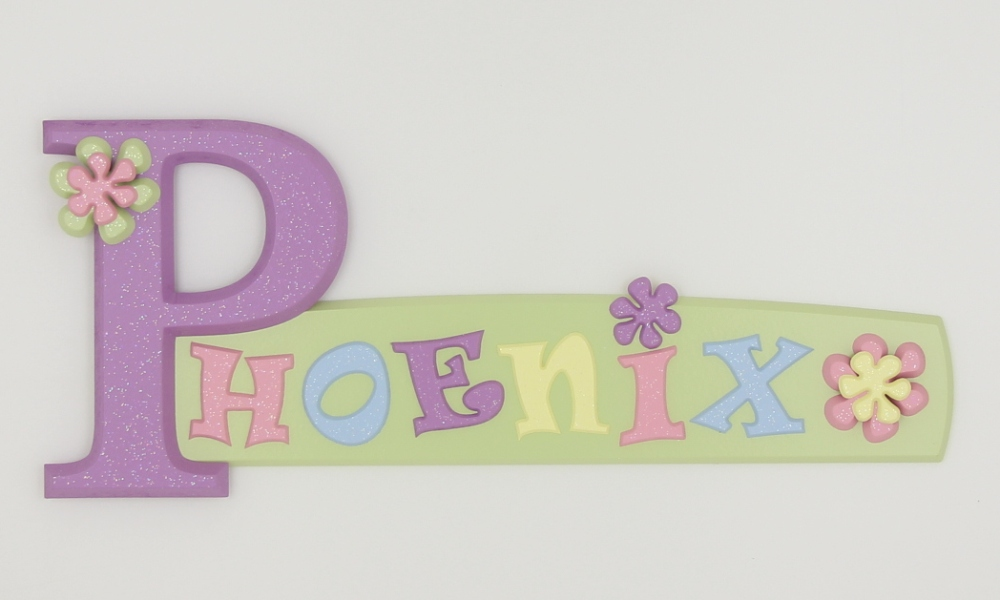 painted wooden name sign for Phoenix