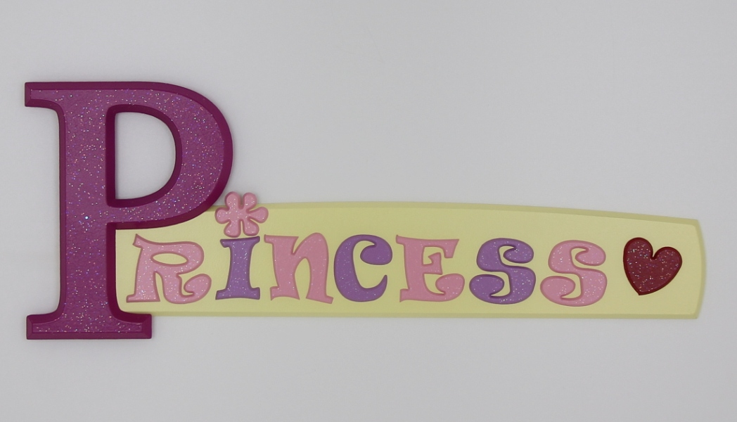 painted wooden name sign for Princess