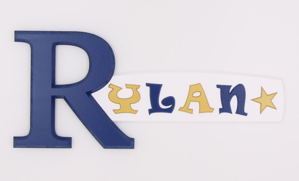 painted wooden name sign for Rylan