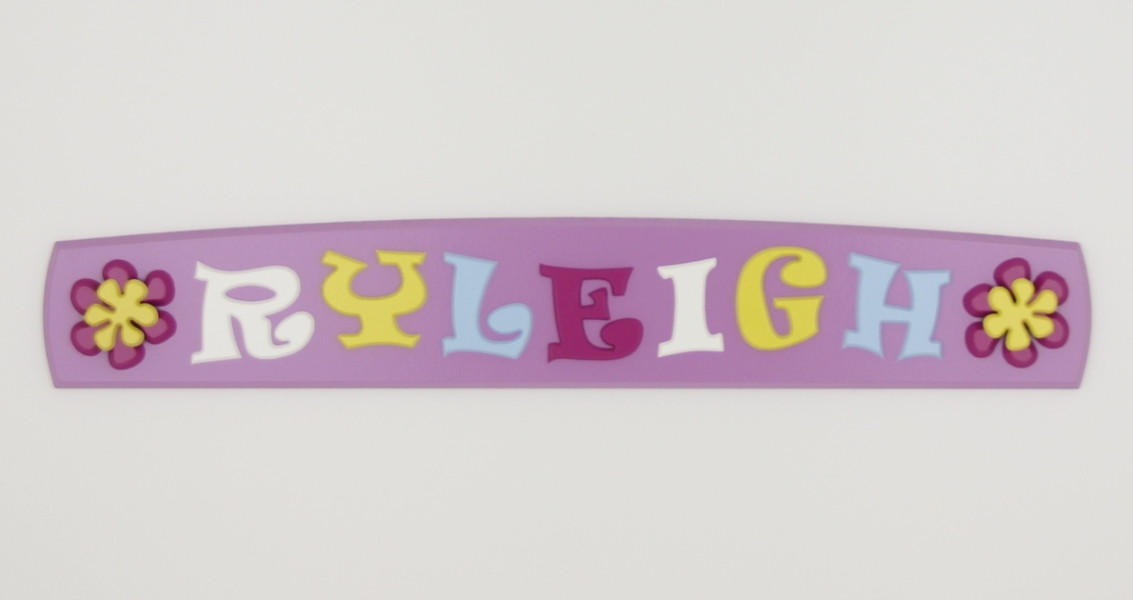 painted wooden name sign for Ryleigh