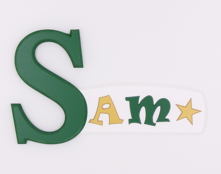 painted wooden name sign for Sam