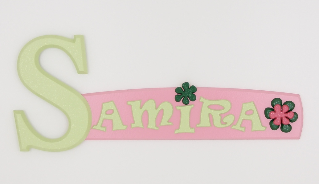 painted wooden name sign for Samira