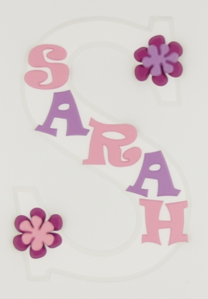 painted wooden name sign for Sarah