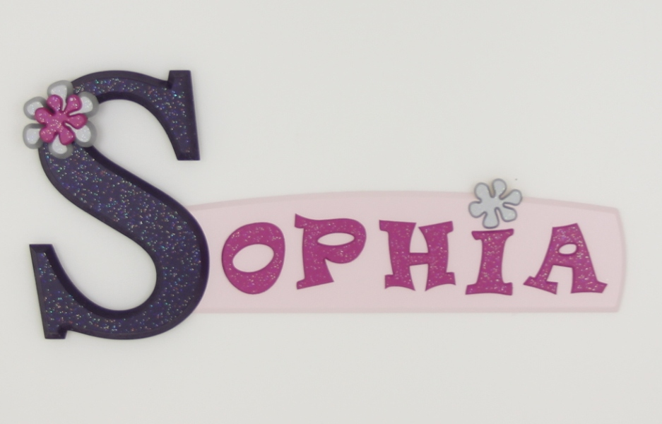 painted wooden name sign for Sophia