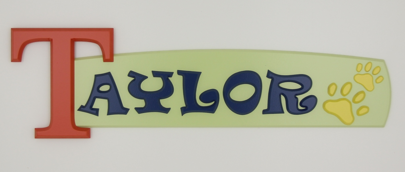 painted wooden name sign for Taylor