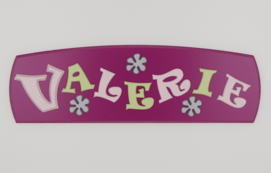 painted wooden name sign for Valerie
