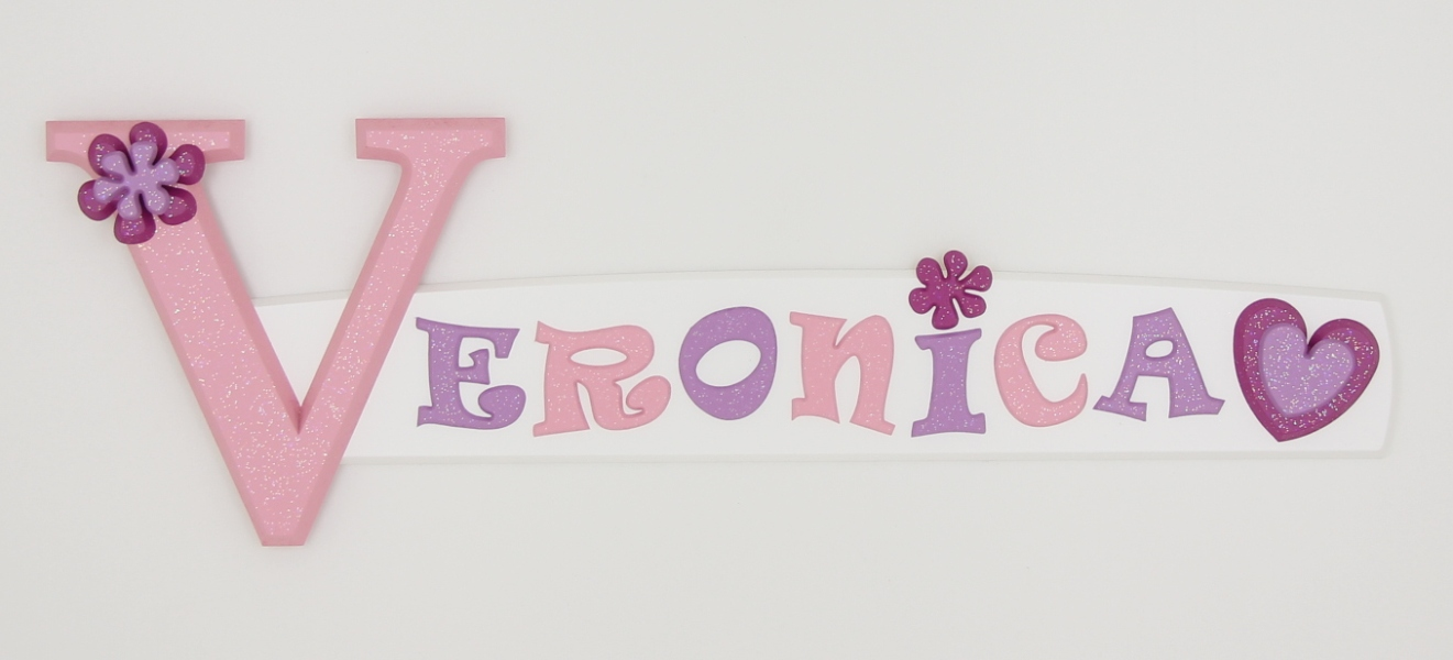 painted wooden name sign for Veronica