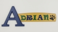 painted wooden name sign for Adrian
