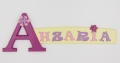 painted wooden name sign for Ahzaria