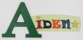 painted wooden name sign for Aiden