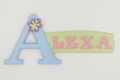 painted wooden name sign for Alexa