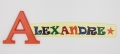 painted wooden name sign for Alexandre