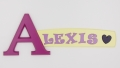 painted wooden name sign for Alexis