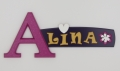 painted wooden name sign for Alina