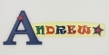 painted wooden name sign for Andrew