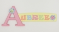 painted wooden name sign for Aubree