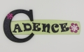 painted wooden name sign for Cadence