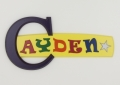 painted wooden name sign for Cayden