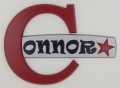 painted wooden name sign for Connor