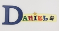 painted wooden name sign for Daniel