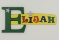 painted wooden name sign for Elijah