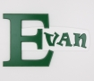 painted wooden name sign for Evan