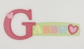 painted wooden name sign for Gabby