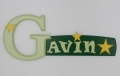 painted wooden name sign for Gavin