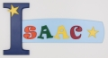 painted wooden name sign for Isaac